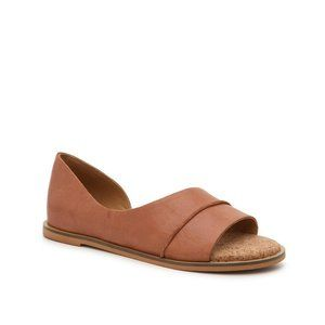 Lucky Brand Fentin 2 Flats Cognac Brown Leather